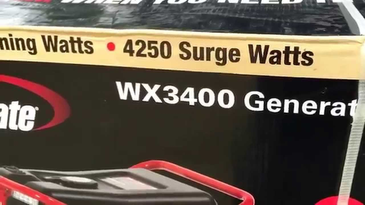 Powermate Generator from Walmart review out of box WX3400 3400 running  watts 4250 surge wts Mr Tims