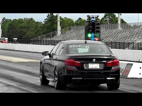 Tune Only - Twin Turbo BMW M5 1/4 Mile Drag Video X 2 - 11.4 @ 125 Mph- Road Test TV ®