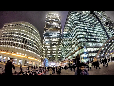 Canary Wharf Night Time Walk Around. London