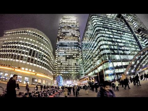Canary Wharf Night Time Walk Around. London