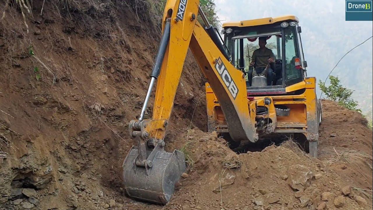 New Narrow Hilly Road Construction-JCB Backhoe-Hill Development