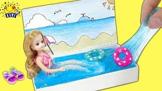 リカちゃんがミニチュアプールを手作り工作するよ❤︎ マッチ箱で真似できる簡単DIY!!Miniature Matchbox Crafts たまごMammy