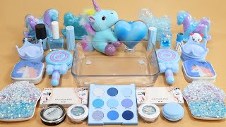 Mixing'Unicorn Blue'Eyeshadow,Makeup and glitter Into Slime!Satisfy...