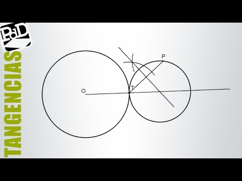 Circunferencia tangente otra, conocidos punto de tangencia y punto de la circunferencia.