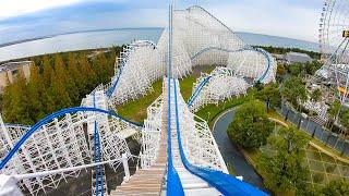Hakugei Roller Coaster BACKWARDS! 4K POV Onride Nagashima Spaland Japan