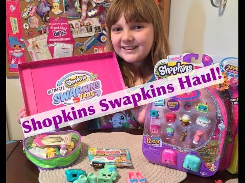 2016 Toys R Us Shopkins Swapkins Party & Haul Video! Twozies Blind Bag & Gold Kooky Cookie!