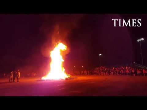 The Fort Morgan High School Homecoming Carnival concluded with a large bonfire Wednesday night at Le