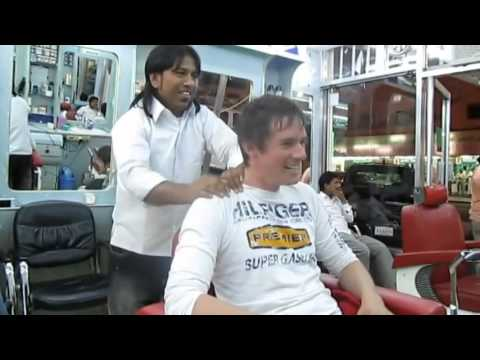 TURKISH BARBER SHAVING WITH FIRE & INDIAN HEAD MASSAGE FULL WORKS