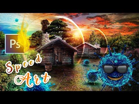 SPEED ART E06      Photoshop Manipulation Covid Safe House Covid 19 Virus Photoshop