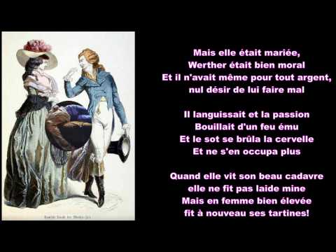 Les douleurs du jeune Werther by WM Thackeray translated into French for voice and guitar
