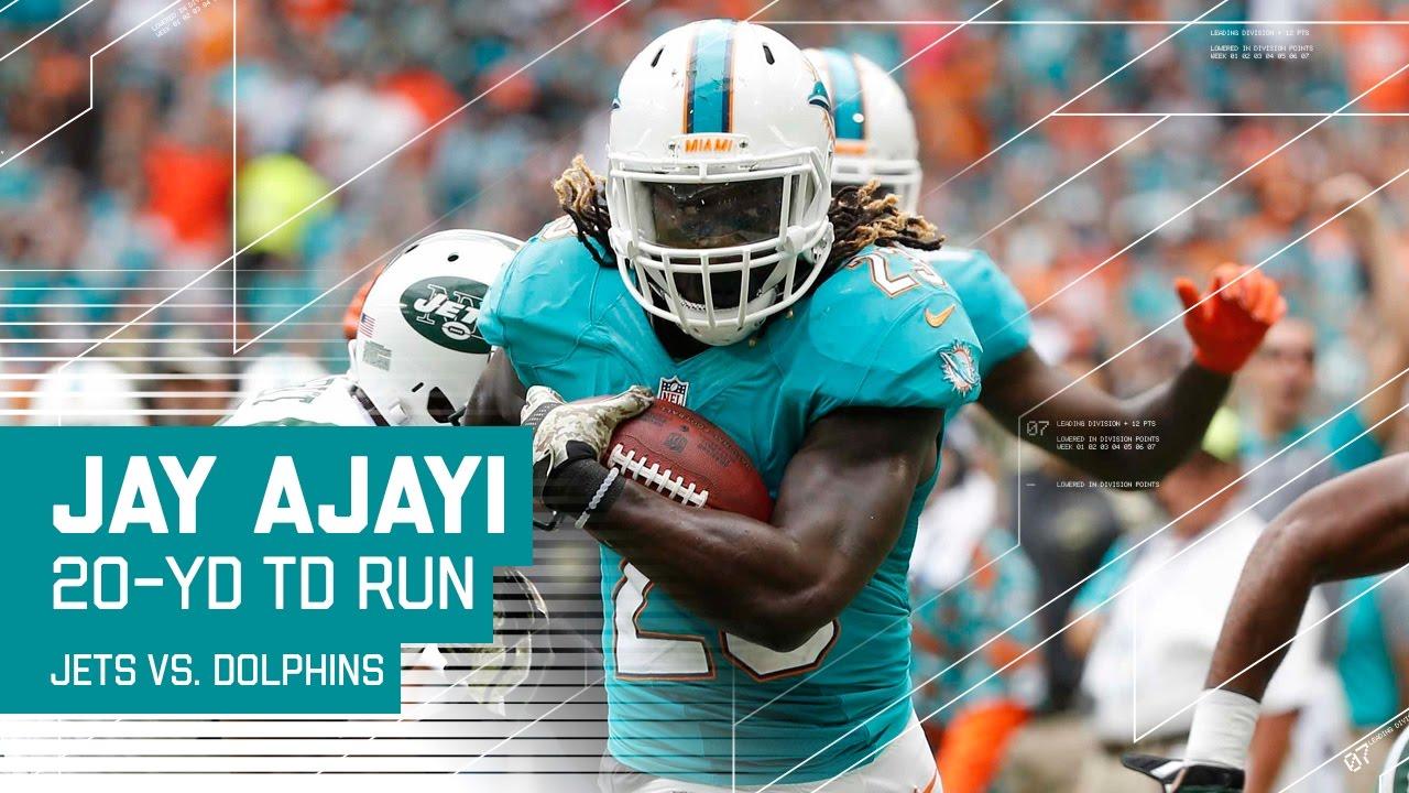 Jay Ajayi Breaks Free for a 20 Yard TD Jets vs Dolphins