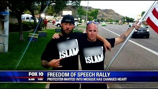 Change of heart: anti-Islam protester observes prayer service