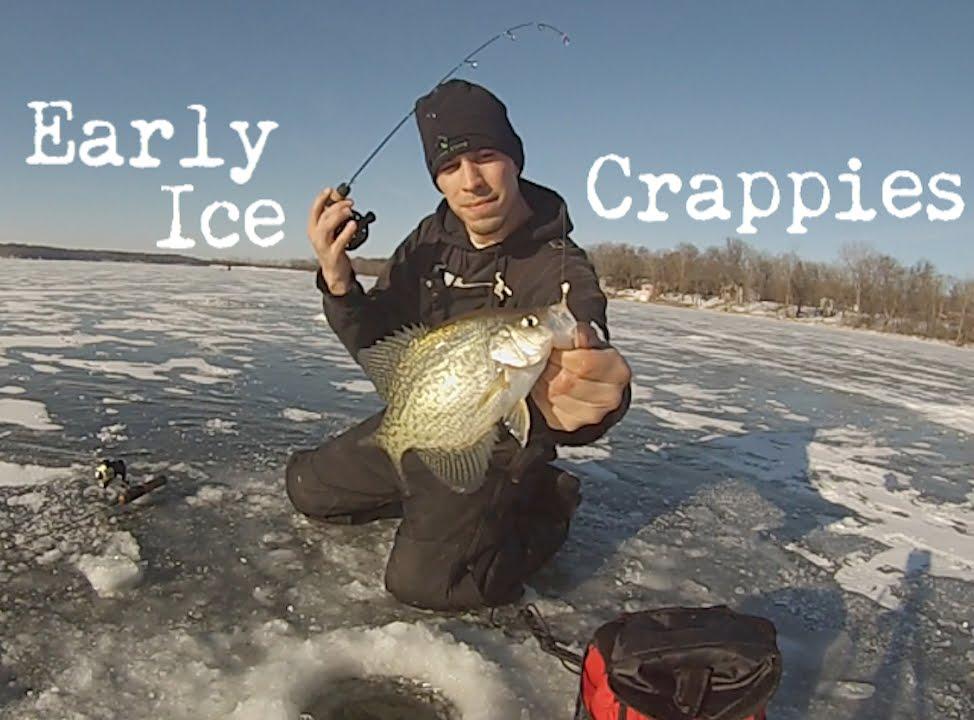Minnesota Ice Fishing Early Ice Crappies 2014 Youtube