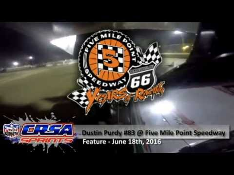 Dustin Purdy @ Five Mile Point Speedway 6/18/16 - CRSA Sprint Cars - Feature Race - GoPro