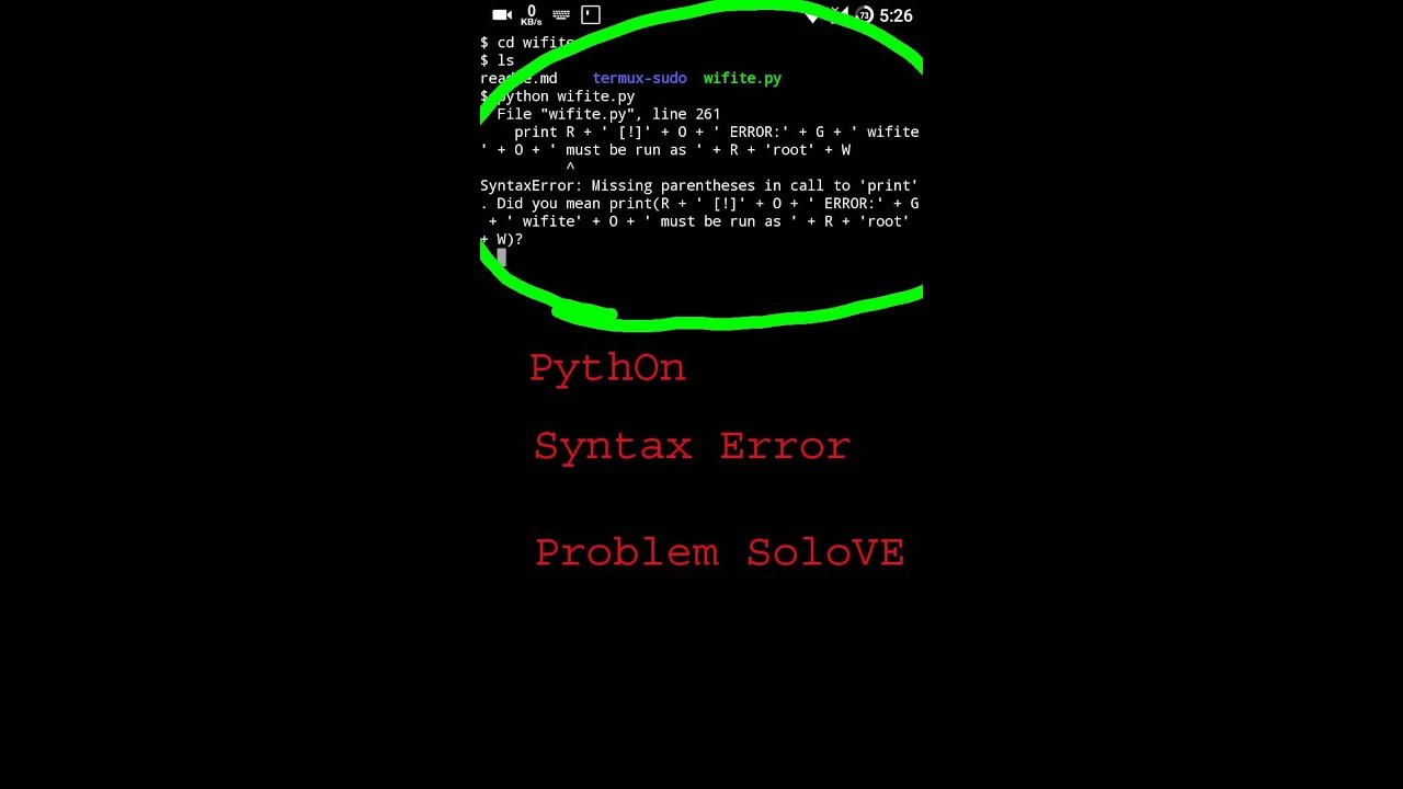 python syntax error problem solove in termux