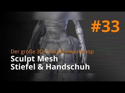 Blender 3D-Charakterworkshop Teil 1 | #33 – Sculpt Mesh Stiefel & Handschuh