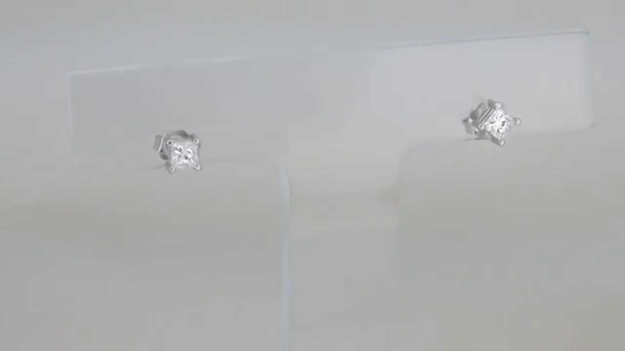 1 3 Carat T W Princess Cut Diamond Stud Earrings In 14kt White Gold E 08267