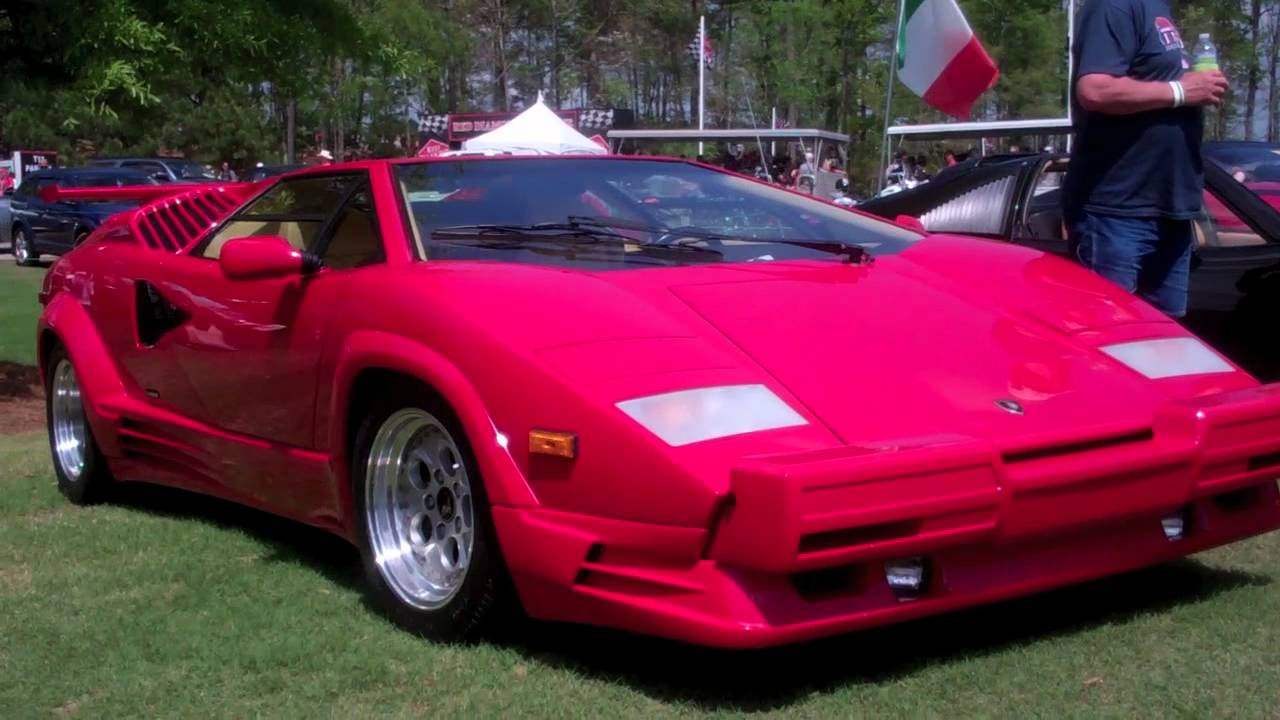 Red Lamborghini Countach Acceleration Startup 25th Anniversary