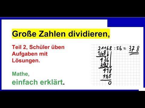 Große Zahlen dividieren (schriftlich), Teil 2, Aufgaben mit Lösungen ...