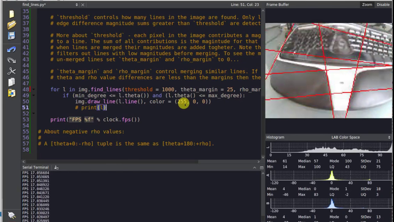 Line Detection on the OpenMV Cam M7