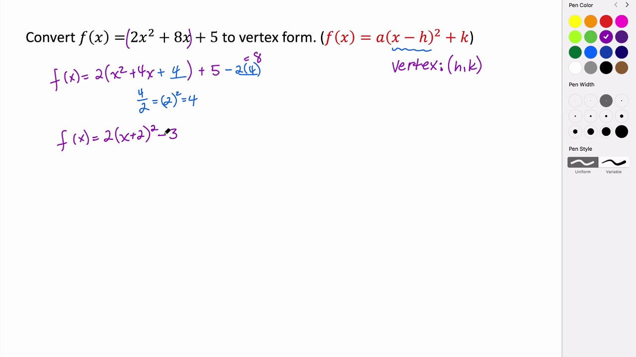 Converting a quadratic from standard form to vertex form youtube converting a quadratic from standard form to vertex form falaconquin