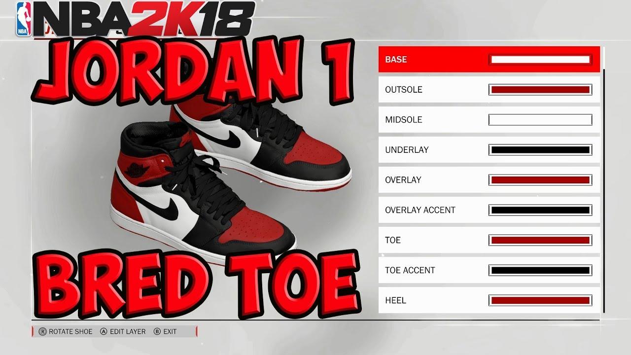 NBA 2K18 Shoe Creator | Jordan 1 Bred Toe | Xbox One PS4