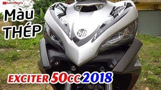 Exciter 50cc 2018 Xám Trắng ánh kim ▶ Cận cảnh CHIẾN BINH THÉP