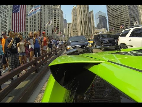 Lamborghini Murcielago Loud Exhaust GoPro Peoples Reaction in Chicago