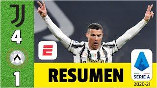 Juventus 4-1 Udinese. Doblete de Cristiano Ronaldo y se mete en la historia. Dybala marcó | Serie A