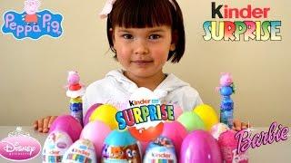 20 surprise eggs barbie peppa pig hello kitty spiderman disney princess kinder eggs toys unboxing