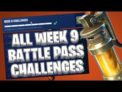 ALL WEEK 9 BATTLE PASS CHALLENGES! (Fortnite Battle Royale Season 4)