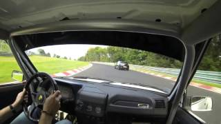 205 GTI vs Megane RS and Yamaha R1 battle Nordschleife 8.30 BTG