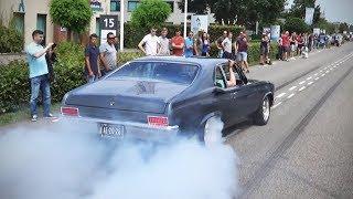 Modified cars leaving a car meet (burnouts, accelerations etc)