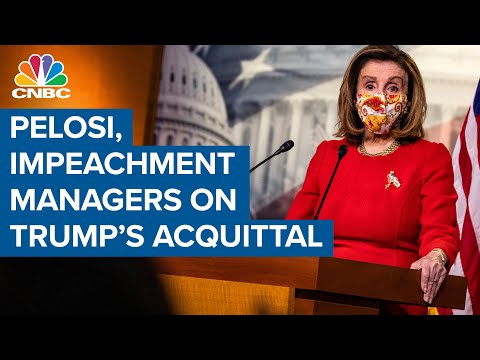 Speaker Nancy Pelosi and the House impeachment managers respond to Trump's acquittal