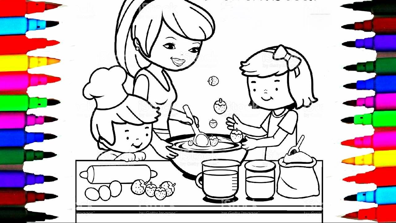 Coloring Pages Kitchen l Mommy Baking with Boy and Girl l Drawing
