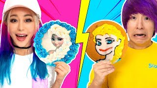 GF VS BF Cake Icing Art Challenge! Learn To Make Elsa, Pikachu, Roblox