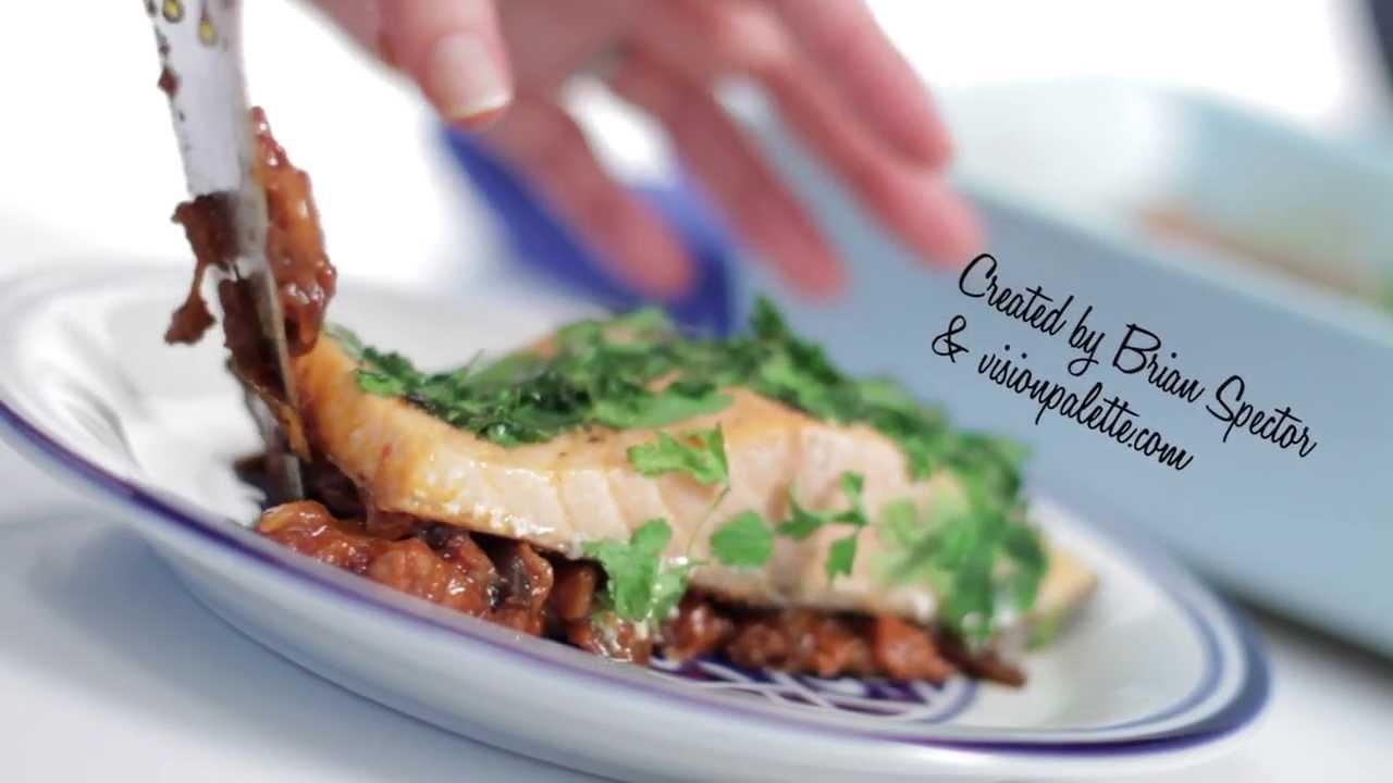 Easy Salmon Recipe with Parsley and Spanish Eggplant   JOY of KOSHER