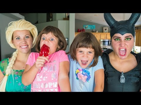 FROZEN ELSA vs Maleficent - Real Life Twins get a poison GIANT Gummy Bear Sucker | Magic Play Time