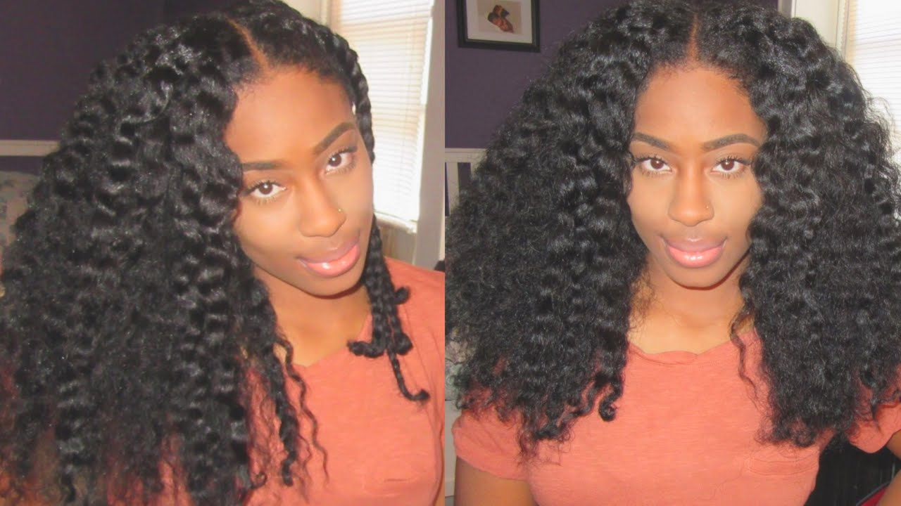 Natural Hair Braid Out On Blow Dried Hair Youtube