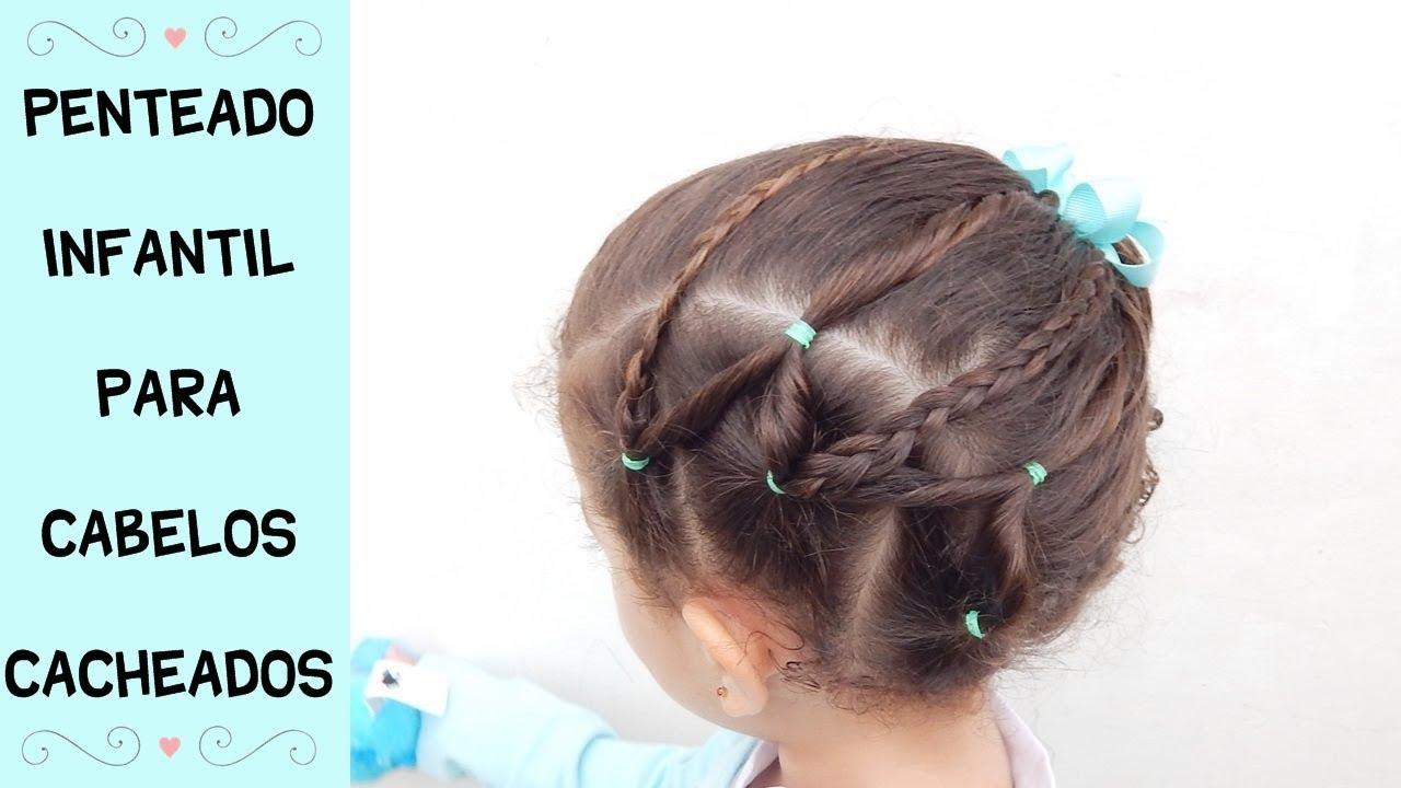 Penteado Fácil Lateral Com Elásticos E Tranças Penteado Infantil Para Cabelos Cacheados