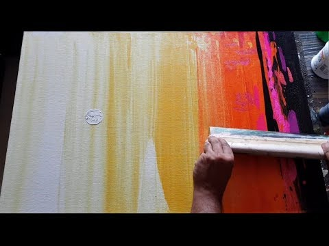Abstract Painting / Simple And EASY / Using Rubber Squeegee In