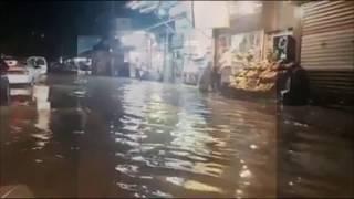 فيضانات دمشق اليوم وانقاذ امرأه جرفتها السيول