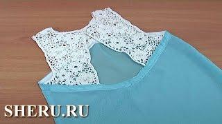 Вязание нерегулярной сетки в  комбинированной кофточке-тунике Урок 132