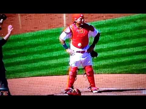 Ball stuck to catcher Molina!