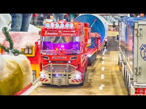 SCANIA HEAVY LOAD TRANSPORT WIND POWER PART RC MODEL SCALE 1:14 / Fair Leipzig Germany 2016