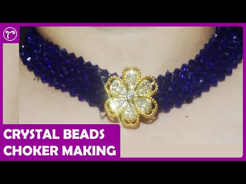 DIY Weaving Crystal Beads Choker Necklace Making | Handmade Jewellery Making | Rubeads Jewelry