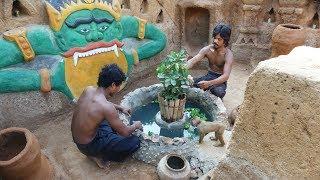 Amazing ! Build Underground Stone Fish Pond   Building Skill