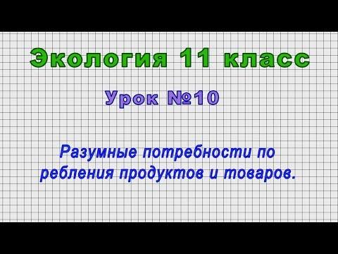 Экология 11 класс (Урок№10 - Разумные потребности потребления продуктов и товаров.)