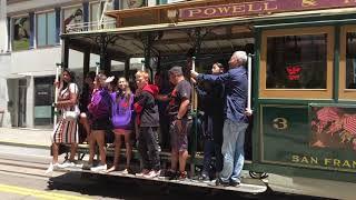 Powell-Hyde Cable Car 3 @ Powell St & O'Farrell St San Francisco California (Slow Motion)