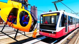 spiderman trains and yellow helicopter for kids fun video with nursery rhymes songs for children